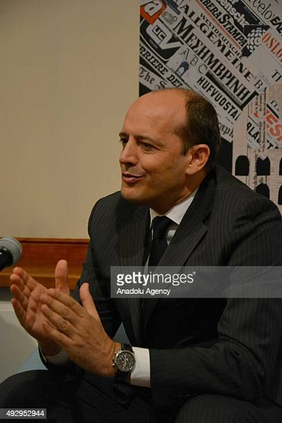 General Manager of AS Roma Mauro Baldissoni answers the questions of the journalists at the Journalists' Association in Rome Italy on October 16 2015