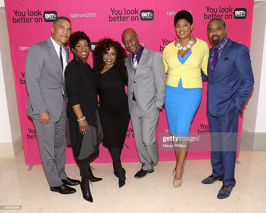 General manager of BET Centric Paxton Baker, Gladys Knight, Chaka Khan, president of music programming BET Networks, Stephen Hill, Vicky Free and president of advertising sales BET Networks Louis Carr attend BET Networks 2013 Los Angeles Upfront at Montage Beverly Hills on April 2, 2013 in Beverly Hills, California.