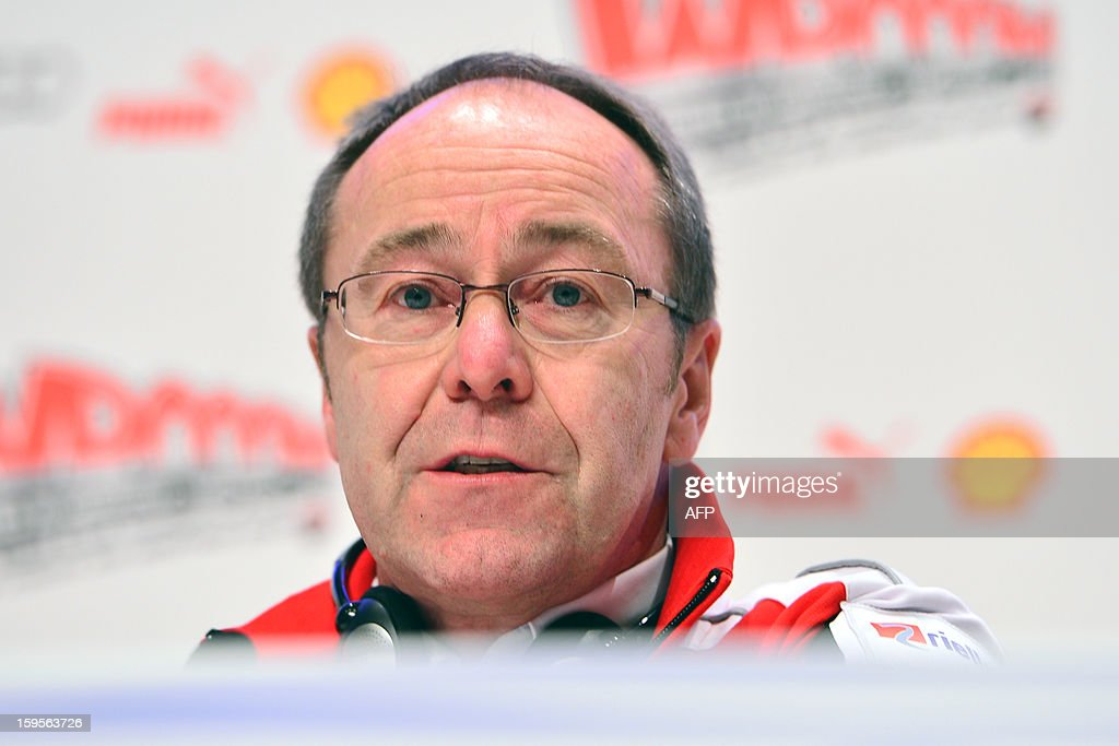 General manager of Ducati Corse Bernhard Gobmeier attends a press conference during the Wrooom, F1 and MotoGP Press Ski Meeting, Ducati and Ferrari's annual media gathering, in Madonna di Campiglio on January 16, 2013. AFP/ GIUSEPPE