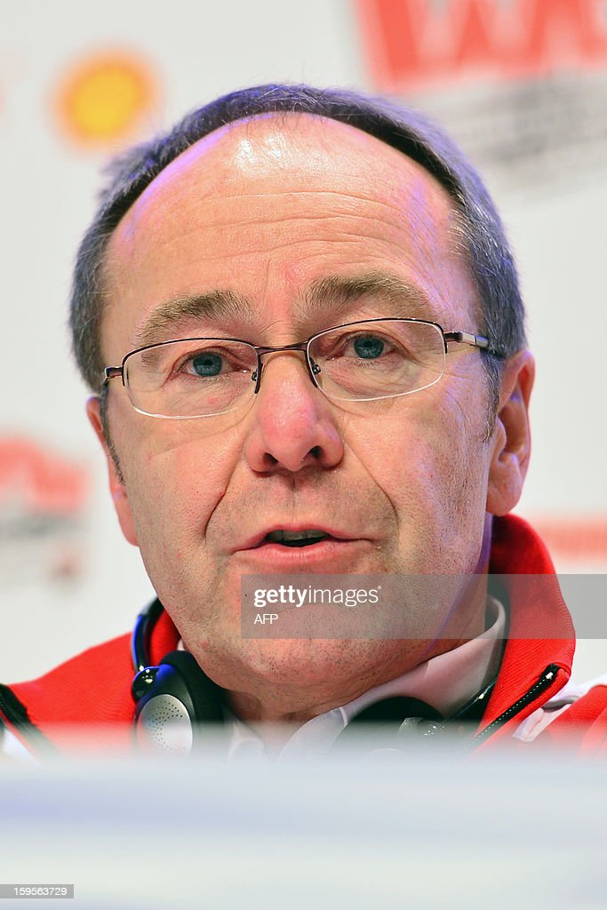 General manager of Ducati Corse Bernhard Gobmeier attends a press conference during the Wrooom, F1 and MotoGP Press Ski Meeting, Ducati and Ferrari's annual media gathering, in Madonna di Campiglio on January 16, 2013. AFP/ GIUSEPPE CACACE