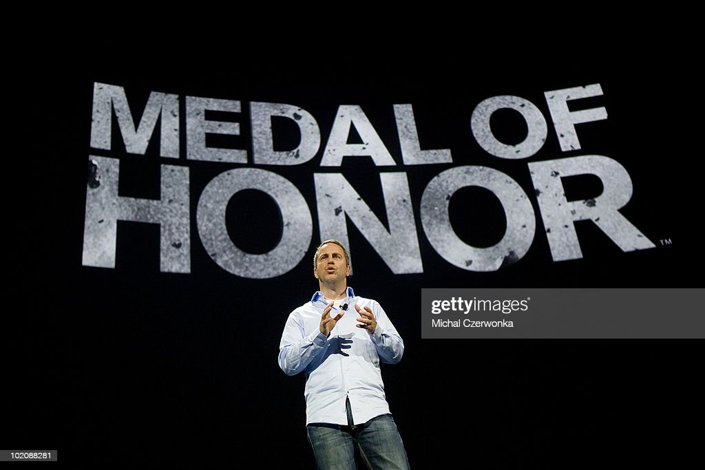 General Manager of Electronic Arts Los Angeles (EA) Sean Decker introduces the new EA 'Medal of Honor' game at an EA press briefing ahead of the Electronic Entertainment Expo (E3) at the Orpheum Theater June 14, 2010 in Los Angeles, California. The annual video game trade conference and show at the Los Angeles Convention center runs June 15-17.