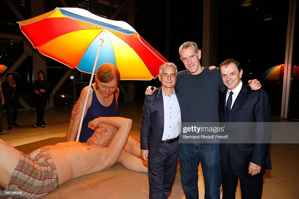 General Manager of Fondation Cartier Herve Chandes, contemporary artist Ron Mueck and CEO Cartier Stanislas de Quercize attend the 'Ron Mueck' Exhibition : Closing Night at 'Fondation Cartier pour L'Art Contemporain' on October 24, 2013 in Paris, France.