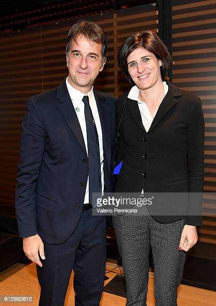 General Manager of Italian Football Federation Michele Uva and Mayor of Turin Chiara Appendino pose for photographers during the FIFA 2018 World Cup...