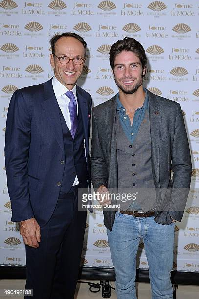 General Manager of Mandarin Hotel Paris Philippe Leboeuf and Actor Tom Leeb pose at the J'aime La Mode event at Hotel Mandarin Oriental on September...