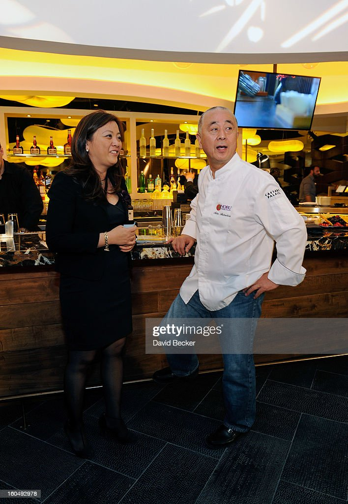 General manager of Nobu Hotel Caesars Palace Gigi Vega (L) and chef Nobu Matsuhisa appear during a preview for the Nobu Restaurant and Lounge Caesars Palace on February 1, 2013 in Las Vegas, Nevada. The Nobu Hotel Restaurant and Lounge Casears Palace is scheduled to open on February 4.