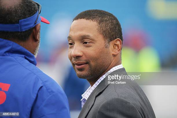 General Manager of the Buffalo Bills Doug Whaley watches warmups before the game against the Indianapolis Colts at Ralph Wilson Stadium on September...