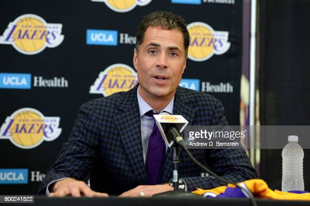 General Manager of the Los Angeles Lakers Rob Pelinka introduces draft pick Lonzo Ball during a press conference in El Segundo California NOTE TO...