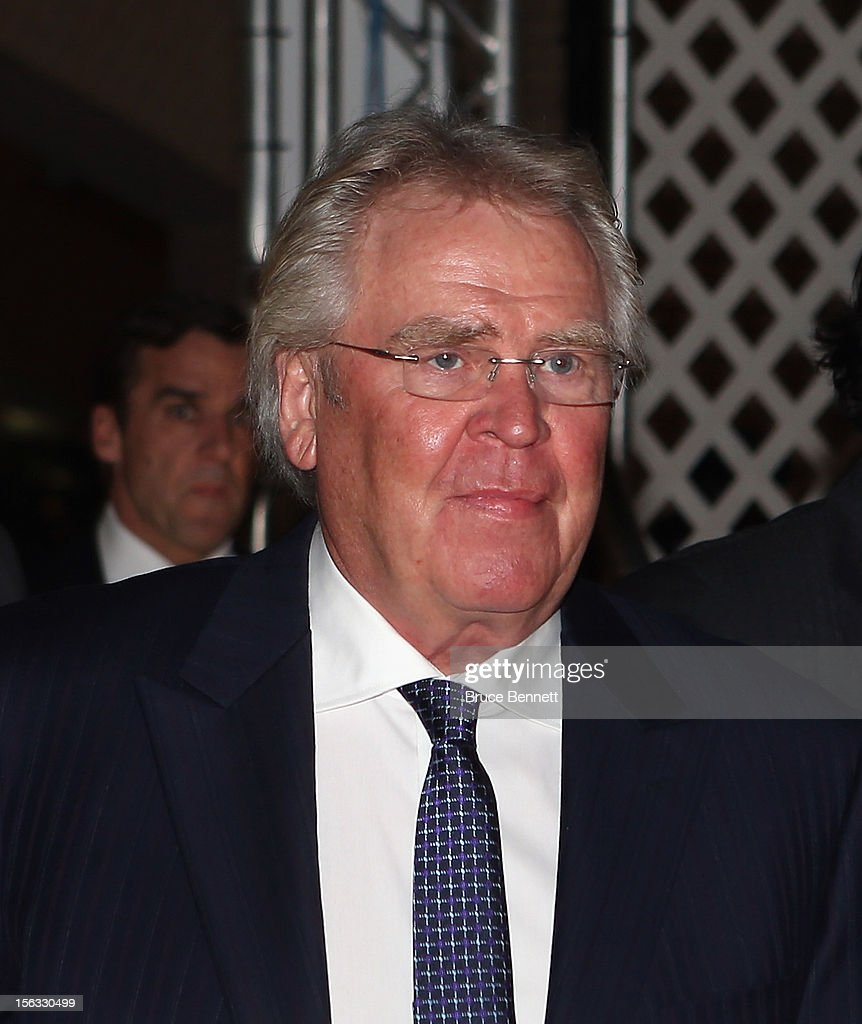 General Manager of the New York Rangers <a gi-track='captionPersonalityLinkClicked' href=/galleries/search?phrase=Glen+Sather&family=editorial&specificpeople=207190 ng-click='$event.stopPropagation()'>Glen Sather</a> arrives for the Hockey Hall of Fame induction ceremony at Brookfield Place on November 12, 2012 in Toronto, Canada.