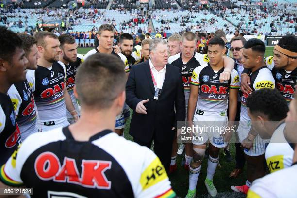 General Manager of the Penrith Panthers Phil Gould congratulates players after winning the 2017 State Championship Final between the Penrith Panthers...