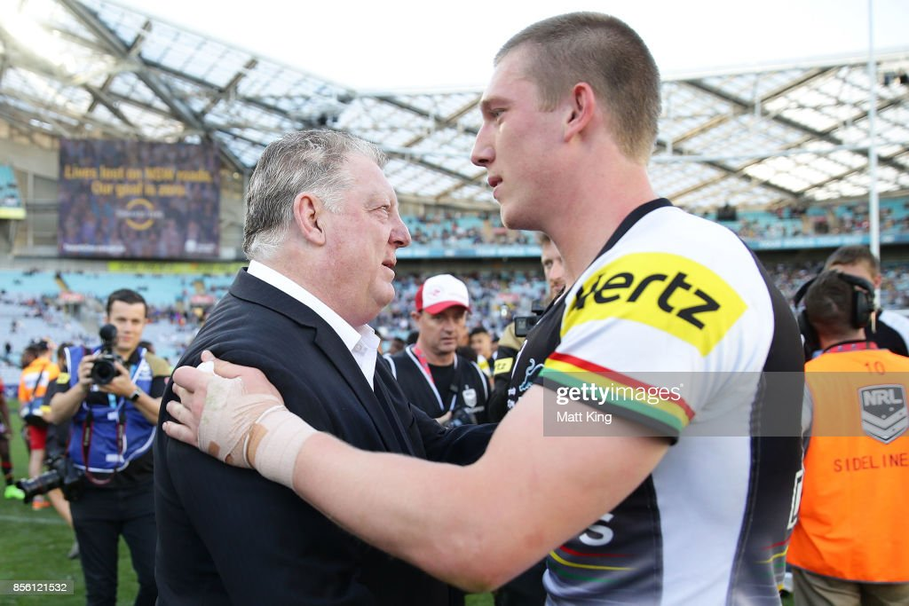General Manager of the Penrith Panthers Phil Gould congratulates players after winning the 2017 State Championship Final between the Penrith Panthers and Papua New Guinea Hunters at ANZ Stadium on October 1, 2017 in Sydney, Australia.