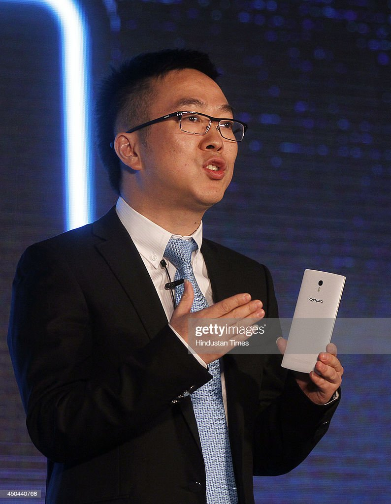 General Manager, Oppo India, Steven Shi Feng launching the OPPO Find 7 Smartphone during a press conference on June 11, 2014 in New Delhi, India. The phone will be available in two variants, Find 7 for Rs. 37990 and Find 7A for Rs.31990, and will be available in the market next month.