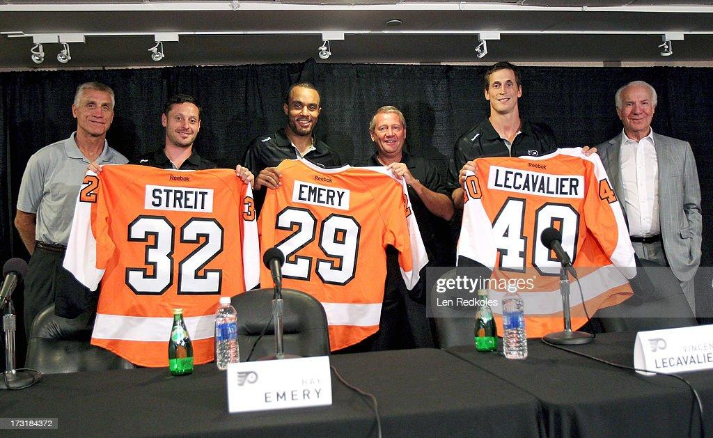Philadelphia Flyers Introduce Mark Streit, Vincent Lecavalier And Ray Emery