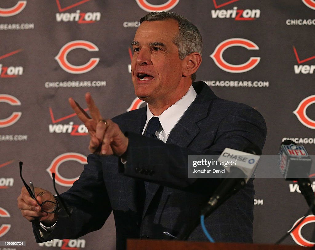 General manager Phil Emery of the Chicago Bears explains his choice of Marc Trestman to be the new head coach of the Bears at Halas Hall on January 17, 2013 in Lake Forest, Illinois.