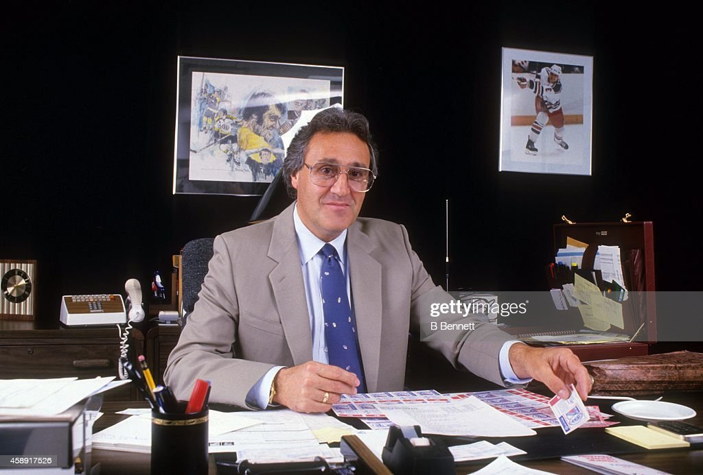 General manager <a gi-track='captionPersonalityLinkClicked' href=/galleries/search?phrase=Phil+Esposito&family=editorial&specificpeople=214575 ng-click='$event.stopPropagation()'>Phil Esposito</a> of the New York Rangers poses for a portrait in his office in September, 1987 in New York, New York.
