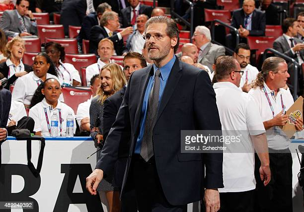 General Manager Ron Hextall of the Philadelphia Flyers walks the draft floor during Round One of the 2015 NHL Draft at BBT Center on June 26 2015 in...