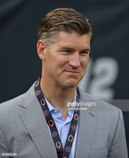 General manager Ryan Pace of the Chicago Bears is seen on the sidelines before a preseason game against the Denver Broncos at Soldier Field on August...