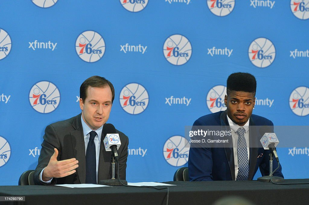 General Manager Sam Hinkie and Nerlens Noel of the Philadelphia 76ers address the media at the Philadelphia College of Osteopathic Medicine on July 23, 2013 in Philadelphia, Pennsylvania.