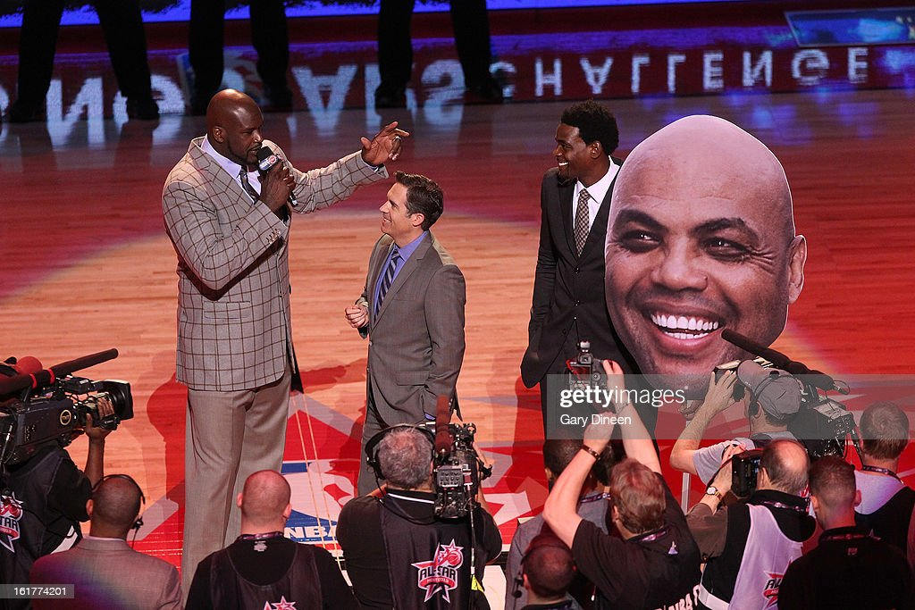 General Manager Shaquille O'Neal of Team Shaq and former NBA player Chris Webber address the crowd prior to the 2013 BBVA Rising Stars Challenge on February 15, 2013 at the Toyota Center in Houston, Texas.