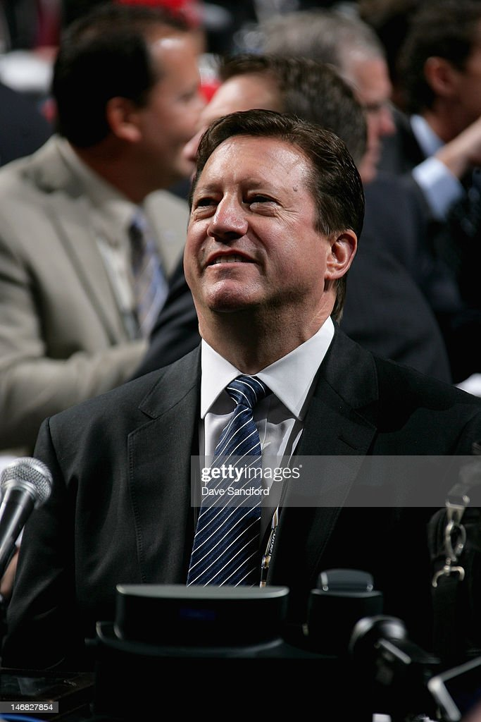 General Manager Steve Tambellini of the Edmonton Oilers looks on during Round One of the 2012 NHL Entry Draft at Consol Energy Center on June 22, 2012 in Pittsburgh, Pennsylvania.