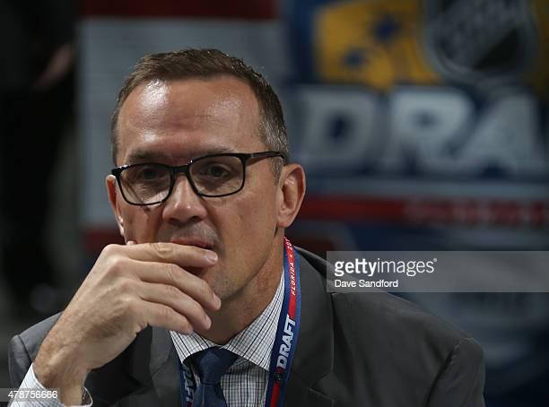 General Manager Steve Yzerman of the Tampa Bay Lightning looks on from the draft table during the 2015 NHL Draft at BBT Center on June 27 2015 in...