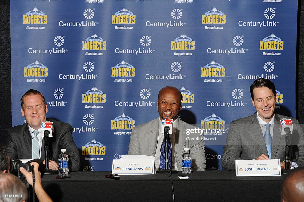 General Manager Tim Connnelly, Head Coach Brian Shaw, and President <a gi-track='captionPersonalityLinkClicked' href=/galleries/search?phrase=Josh+Kroenke&family=editorial&specificpeople=3079825 ng-click='$event.stopPropagation()'>Josh Kroenke</a> of the Denver Nuggets share a laugh during the press conference on June 25, 2013 at the Pepsi Center in Denver, Colorado.
