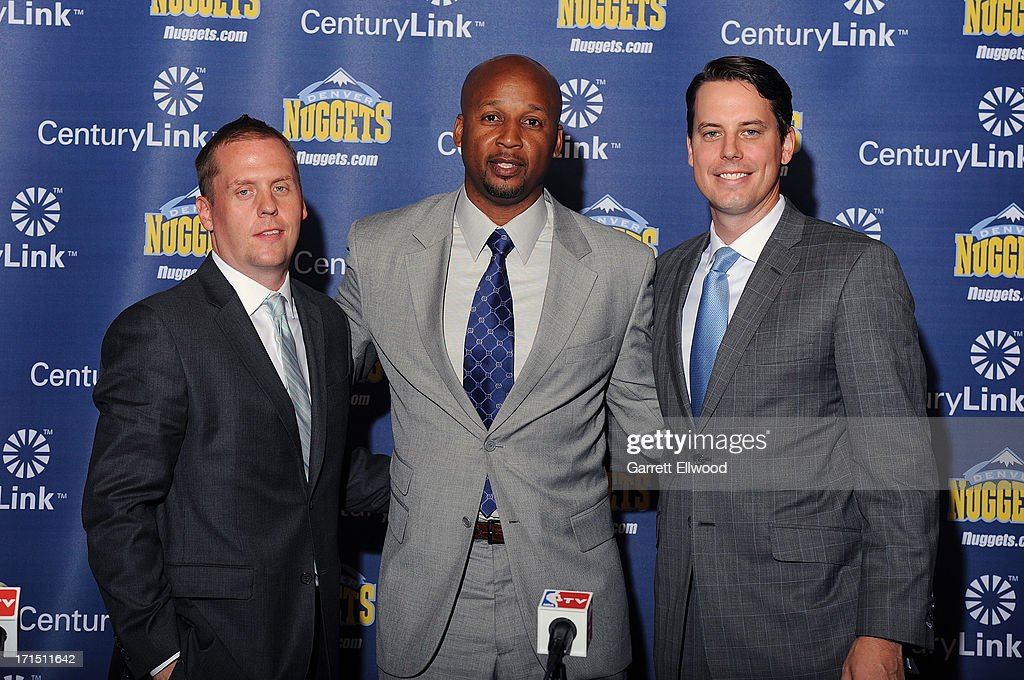 General Manager Tim Connnelly, Head Coach Brian Shaw and President Josh Kroenke of the Denver Nuggets pose for a photo during the press conference on June 25, 2013 at the Pepsi Center in Denver, Colorado.