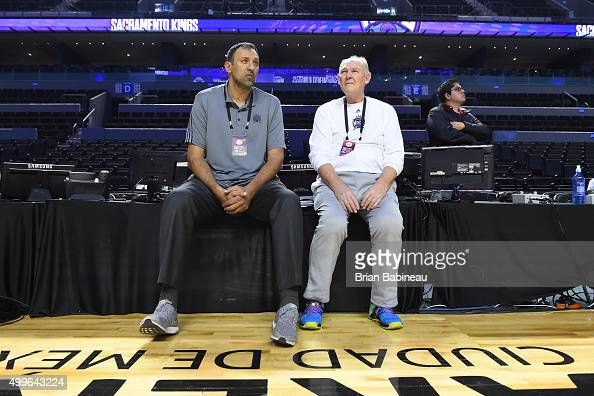 General manager Vlade Divac and head coach George Karl of the Sacramento Kings during practice on December 2 2015 at the Arena Ciudad de Mexico in...