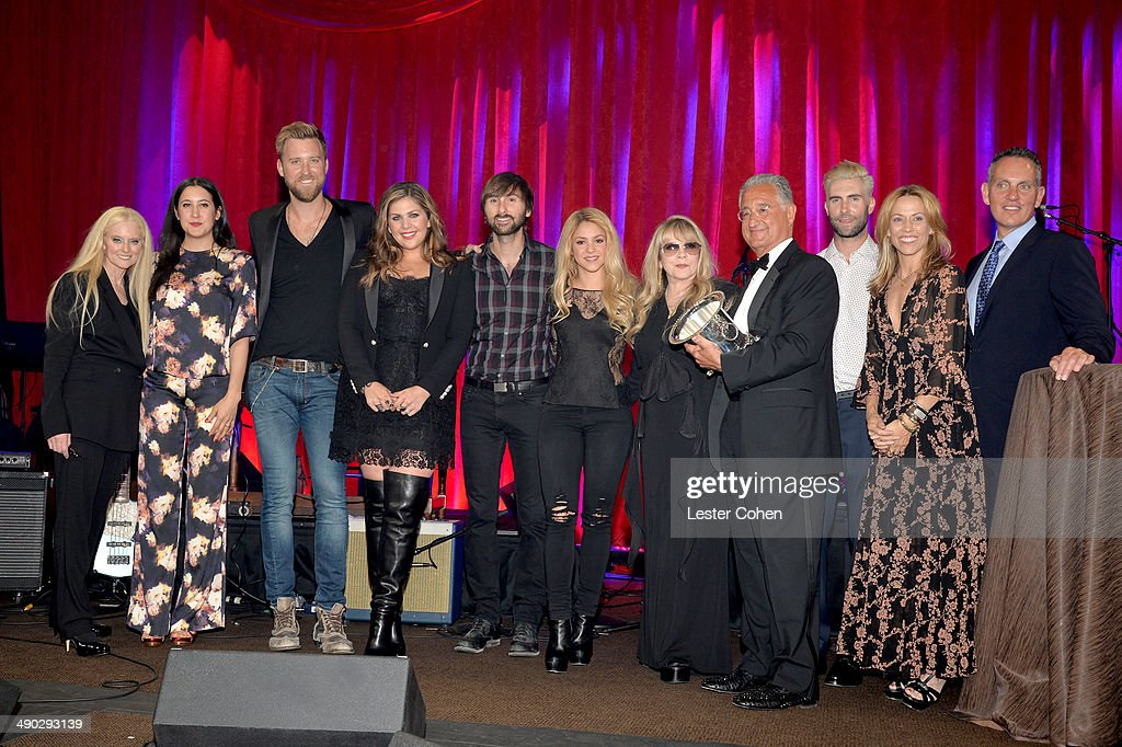 BMI VP & General Manager, Writer/Publisher Relations Barbara Cane; singer-songwriters Vanessa Carlton, Charles Kelley, Hillary Scott and Dave Haywood of Lady Antebellum; singer-songwriter Shakira; BMI President Del Bryant, singer-songwriters Adam Levine of Maroon 5 and Sheryl Crow; and BMI CEO Michael O'Neill present the BMI Icon Award to singer-songwriter Stevie Nicks (5th from right) at the 2014 BMI Pop Awards at the Beverly Wilshire Four Seasons Hotel on May 13, 2014 in Beverly Hills, California.