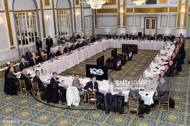 General managers and dignitaries from the National Hockey League attend a meeting during the NHL Centennial 100 Celebration at the Windsor Hotel on...