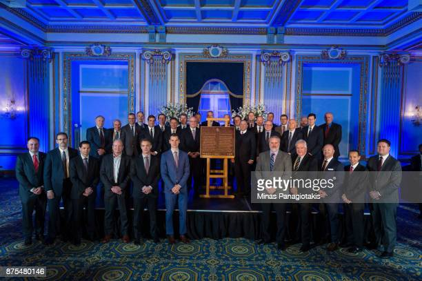 General managers and NHL dignitaries pose with the plaque during the NHL Centennial 100 Celebration at the Windsor Hotel on November 17 2017 in...