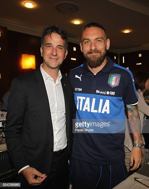 General Manger of FIGC Michele Uva and Daniele De Rossi attend Italian Football Federation Sponsor's Day at Coverciano on May 24 2016 in Florence...