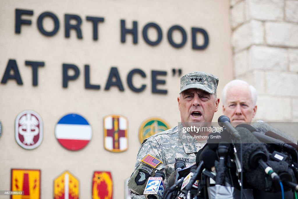 General Mark Milley, III Corps and Fort Hood Commanding General, speaks to press during a press conference on April 3, 2014 in Fort Hood, Texas. The investigation continues into why Lopez did the shooting on the base.