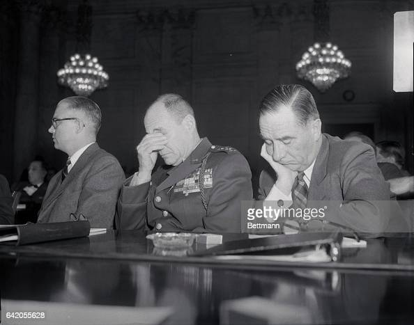 General Matthew B Ridgeway US Army Chief of Staff and secretary of the Air Force Harold Talbott look like a couple of sad sacks indeed despite their...