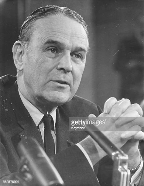 General Maxwell Taylor advisor to President Johnson speaking during a debate before the US Senate Foreign Relations Committee Washington DC February...