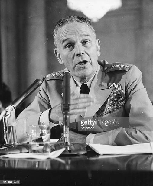 General Maxwell Taylor Chairman of the Joint Chief of Staffs speaking at a hearing on the Ratifying of the Nuclear Test Ban Treaty in front of the...