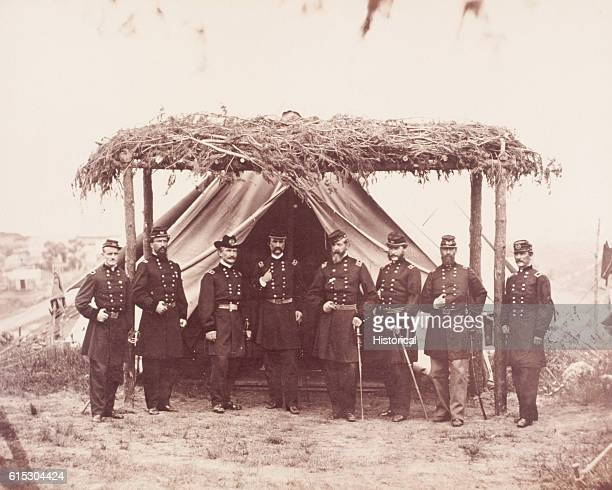 General Meade and his staff in 1865 Left to right are Brigadier General George Macy Major General A S Webb Major General Andrew A Humphreys Major...