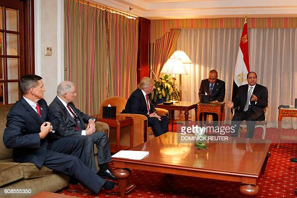 General Michael FlynnRet Senator Jeff Sessions and Republican presidential candidate Donald Trump look on as Egyptian President Abdel Fattah elSisi...