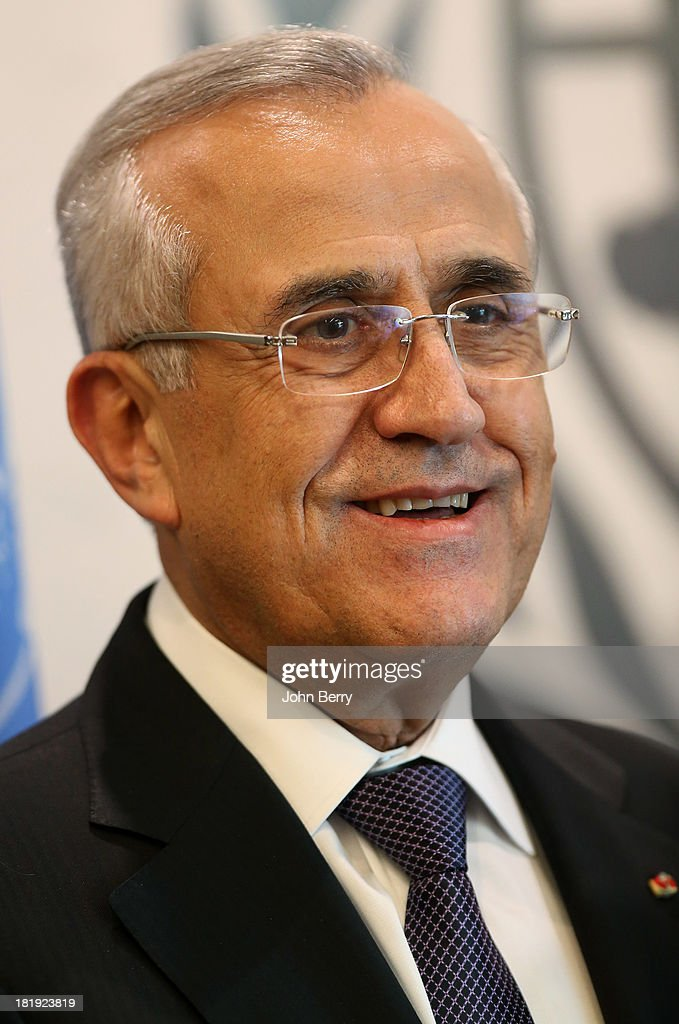 General Michel Sleiman, President of Lebanon attends the 68th session of the United Nations General Assembly on September 25, 2013 in New York City.