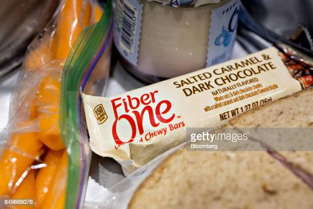A General Mills Inc Fiber One brand layered chewy bar is arranged for a photograph in Tiskilwa Illinois US on Tuesday Sept 19 2017 General Mills Inc...