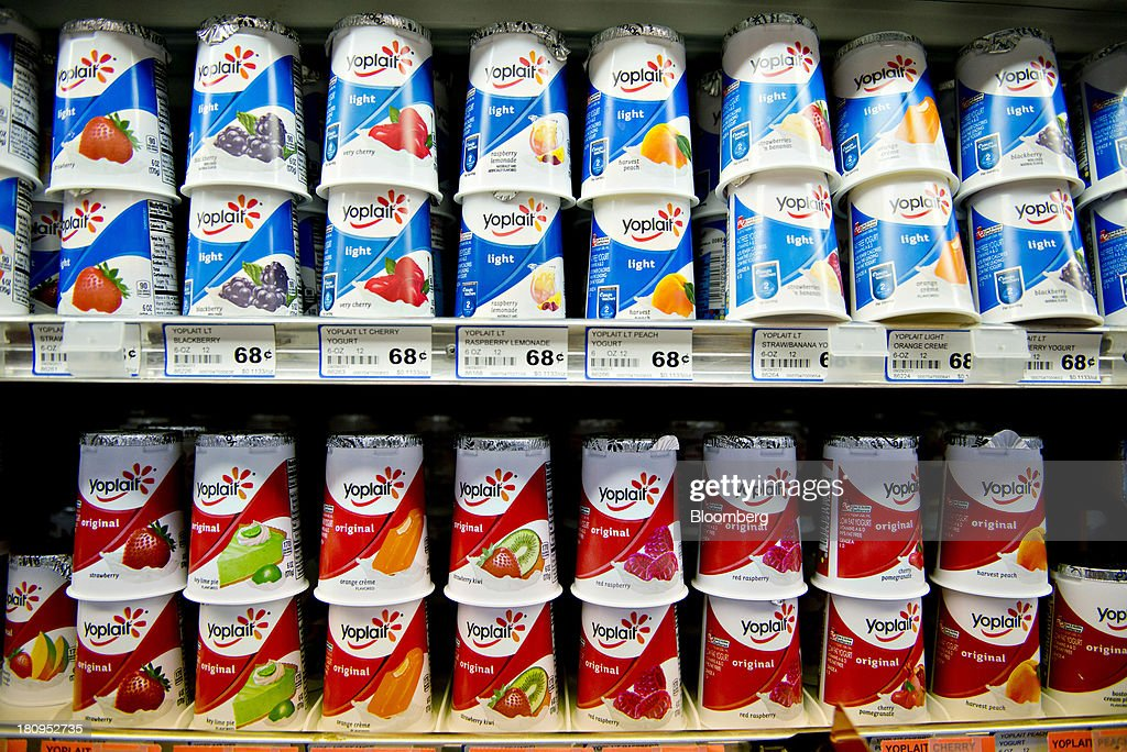 General Mills Inc. Yoplait brand yogurt sits on display at a supermarket in Princeton, Illinois, U.S., on Tuesday, Sept. 17, 2013. General Mills, Inc., said net sales rose 8 percent to $4.37 billion. Photographer: Daniel Acker/Bloomberg via Getty Images