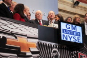 General Motors CEO Dan Akerson rings the opening bell on the floor of the New York Stock Exchange as GM returns to the US stock market on November 18...