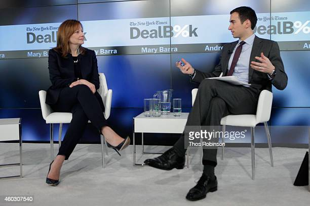 General Motors CEO Mary Barra and DealBook founder and editoratlarge Andrew Ross Sorkin speak onstage during The New York Times DealBook Conference...
