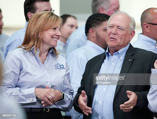 General Motors CEO Mary Barra and United Auto Workers President Dennis Williams prior to the start of the 2015 UAWGM auto contract negotiations at...