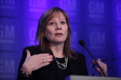 General Motors CEO Mary Barra briefs the news media before addressing the company's shareholders at the General Motors Co annual shareholder's...