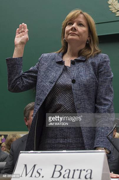 General Motors CEO Mary Barra is sworn in before the House Energy and Commerce Committee for a hearing on the GM ignition switch recall on Capitol...