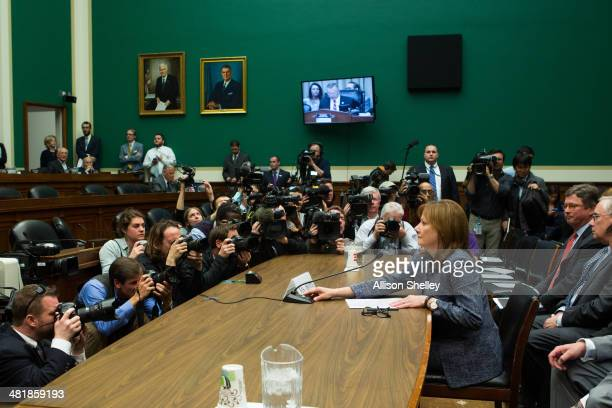 General Motors CEO Mary Barra prepares to testify before the full House Energy and Commerce hearing room in a hearing entitled 'The GM Ignition...