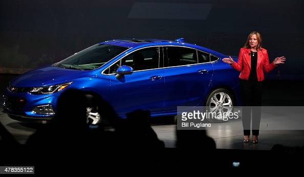 General Motors CEO Mary Barra reveals the new GM 2016 Chevrolet Cruze at The Filmore Detroit June 24 2015 in Detroit Michigan GM touts the new...