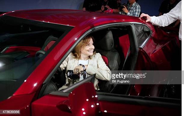 General Motors CEO Mary Barra sits in the new 2016 Chevrolet Camaro after it was revealed to the media on May 16 2015 in Detroit Michigan The...