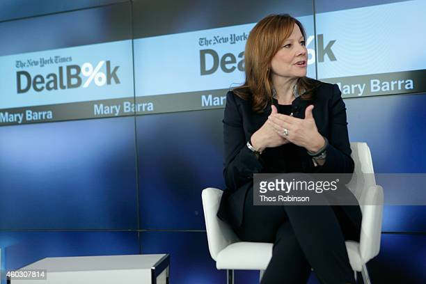 General Motors CEO Mary Barra speaks onstage during The New York Times DealBook Conference at One World Trade Center on December 11 2014 in New York...