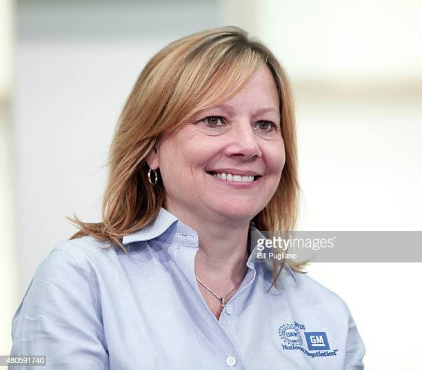 General Motors CEO Mary Barra takes questions from the media prior to the start of the 2015 UAWGM auto contract negotiations at the UAWGM Center for...